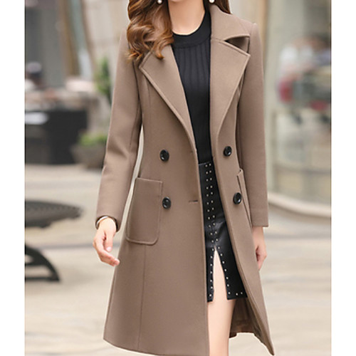 Women's Daily Basic Fall & Winter Long Trench Coat, Solid Colored Turndown Long Sleeve Polyester Light Brown / Army Green / Khaki