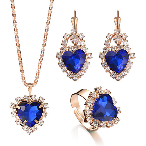 Women's Crystal Ring Bridal Jewelry Sets Vintage Style Heart Romantic Rhinestone Earrings Jewelry Red / Green / Blue For Wedding Party Birthday Engagement Gift Daily 4pcs