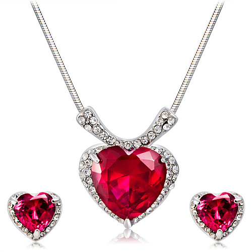 Women's Red Crystal Pendant Necklace Earrings Heart Artistic Classic Fashion Silver Plated Imitation Diamond Earrings Jewelry Red For Party Ceremony Formal 3pcs