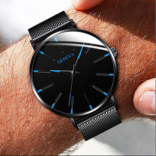 Couple's Steel Band Watches Quartz Stainless Steel Black / Silver / Rose Gold No Chronograph Cute Creative Analog New Arrival Minimalist - Black Black / White Black / Blue One Year Battery Life