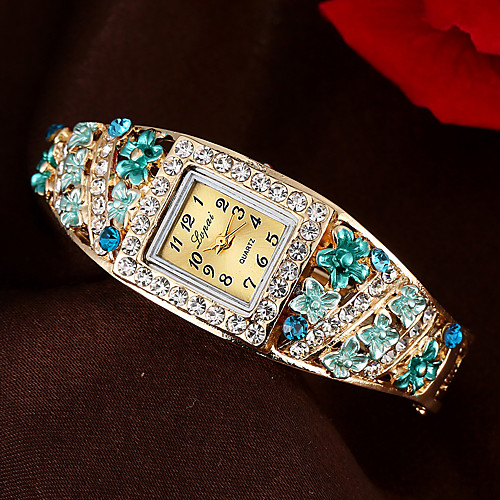 Women's Bracelet Watch Cubic Zirconia Casual Elegant Blue Gold Pink Alloy Chinese Quartz Purple Blushing Pink Gold Casual Watch Imitation Diamond 1 pc Analog One Year Battery Life