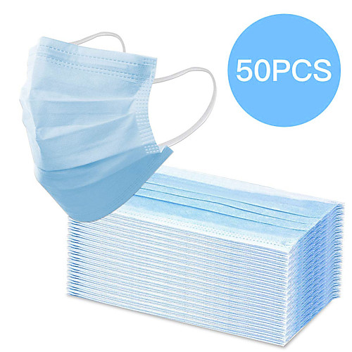 In Stock 50PCS 3-layer Disposable Masks Safe Breathable Mouth Face Mask Disposable Ear loop Face Masks CE Certified Personal ProtectionFree Shipping for 4 boxes (50 pieces per box)