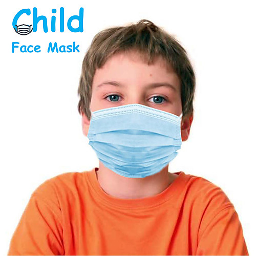 50 pcs Face Mask Portable Disposable Protection Anti Dustproof Nonwoven Fabric CE Certified FDA ISO Certification High Quality Girls' Kids Blue