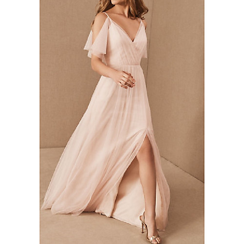 A-Line V Neck Floor Length Tulle Bridesmaid Dress with Pleats