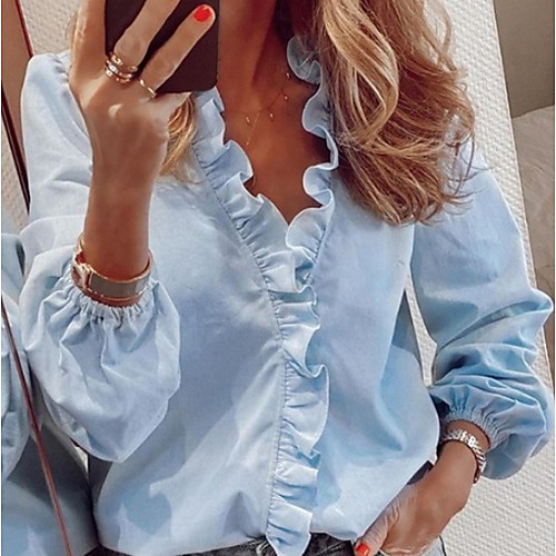 Women's Solid Colored Ruffle Shirt Daily Vacation V Neck White / Black / Blue / Yellow / Pink / Orange / Green / Royal Blue