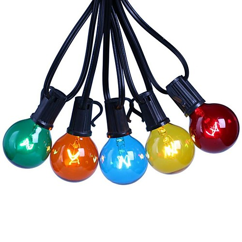 7.62m LED Festoon String Lights 25 LED Garden Patio Outdoor Decoration Bulb Shape Lights Multi-color Tungsten Paint with E12 Lamp Holder Waterproof G40 US EU Plug