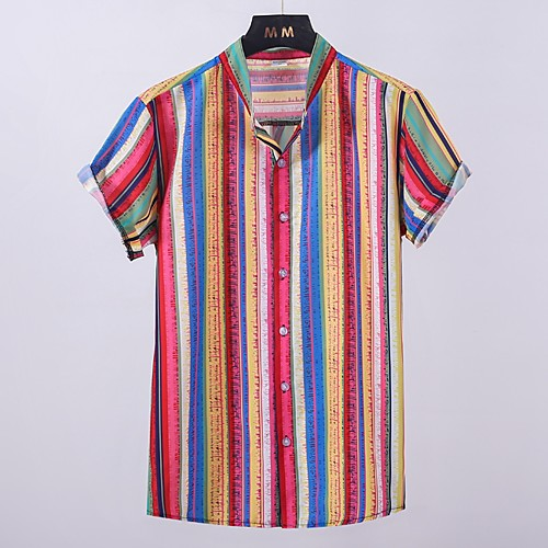 Men's Striped Shirt - Cotton Tropical Hawaiian Holiday Beach V Neck Button Down Collar Blue / Red / Green / Short Sleeve