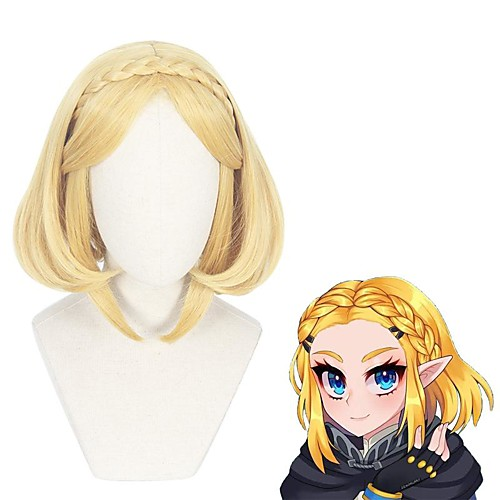Cosplay Wig Princess Zelda The Legend of Zelda kinky Straight Middle Part With Bangs Wig Short Blonde Synthetic Hair 14 inch Women's Anime Cosplay Lovely Blonde