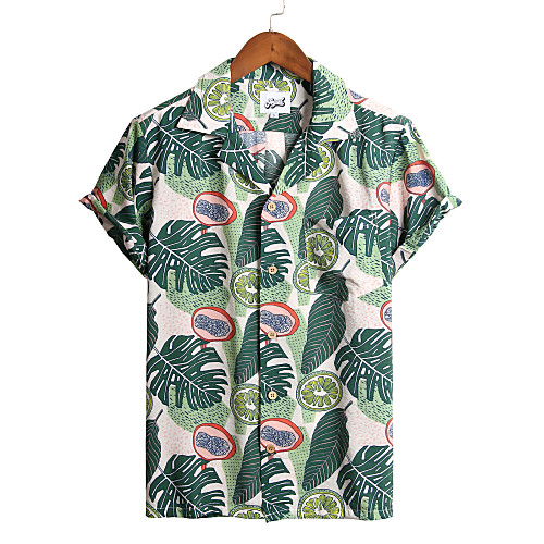 Men's Floral Shirt - Cotton Tropical Hawaiian Holiday Beach Classic Collar Button Down Collar Light Green / Short Sleeve