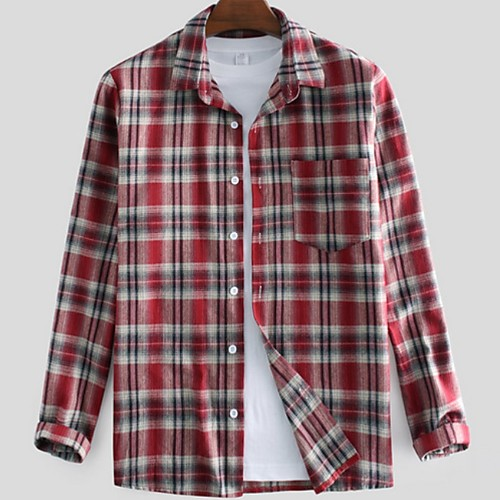 Men's Plaid Shirt - Cotton Tropical Hawaiian Holiday Beach Button Down Collar Red / Green / Long Sleeve