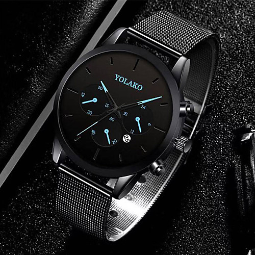 Men's Steel Band Watches Quartz Modern Style Stylish Stainless Steel Black / Silver Calendar / date / day Casual Watch Large Dial Analog Casual Minimalist - Black Blue Red One Year Battery Life