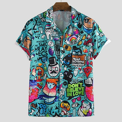 Men's Cartoon Shirt - Cotton Tropical Hawaiian Holiday Beach Button Down Collar Blue / Light Blue / Short Sleeve