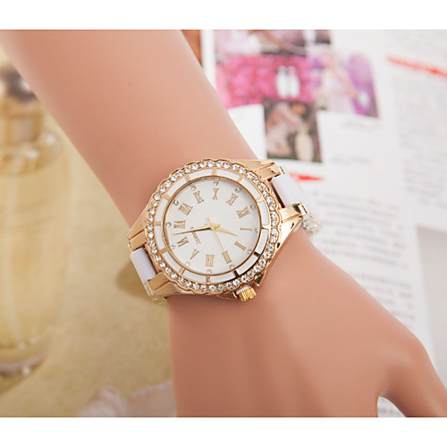 Geneva Women's Steel Band Watches Synthetic Diamond Fashion Black White Blue Alloy Chinese Digital Blushing Pink Red Blue Cute 30 m 1 pc Analog One Year Battery Life