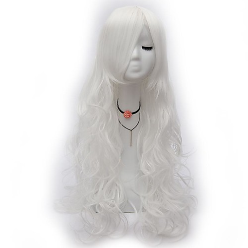 Cosplay Wig Curly Asymmetrical Wig Very Long White Synthetic Hair 32 inch Women's Anime Cosplay Exquisite White