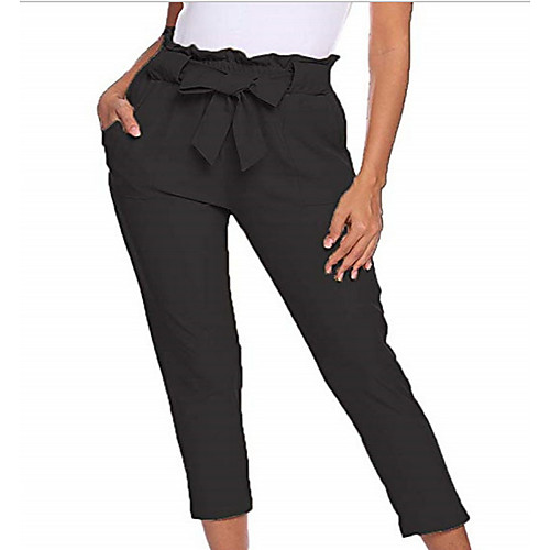 Women's Basic Chinos Pants - Solid Colored Black Khaki Brown S M L