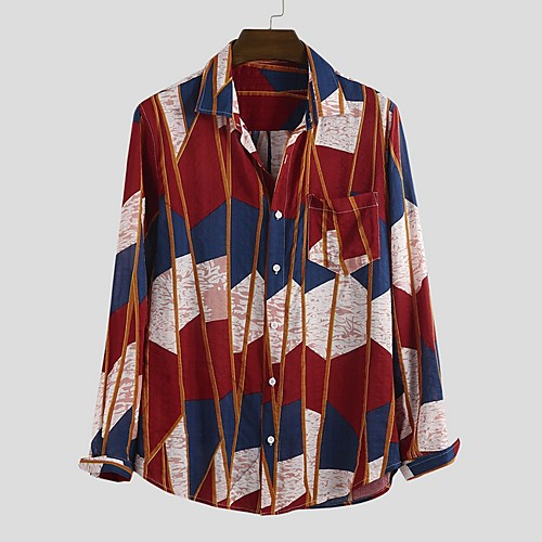 Men's Color Block Shirt - Cotton Tropical Hawaiian Holiday Beach Button Down Collar Red / Yellow / Green / Long Sleeve