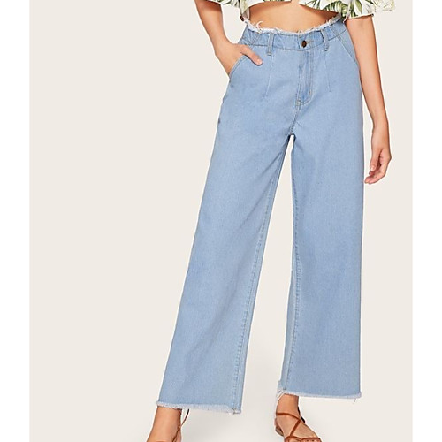 Women's Basic Wide Leg Pants - Solid Colored White Blue S M L