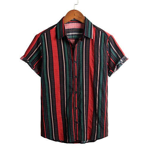 Men's Striped Shirt - Cotton Tropical Hawaiian Holiday Beach Classic Collar Button Down Collar Green / Short Sleeve