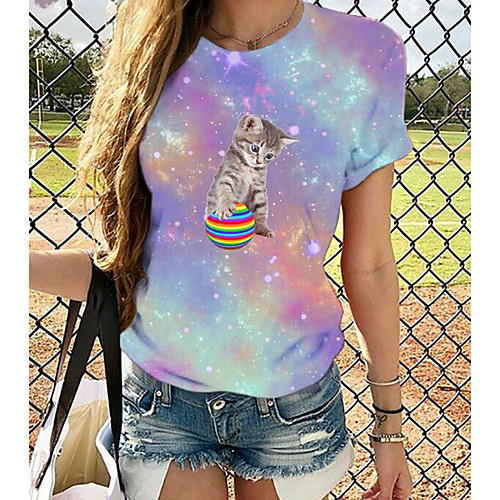 Women's Plus Size Graphic 3D Print Print Loose T-shirt Basic Chinoiserie Daily Going out Blue / Purple