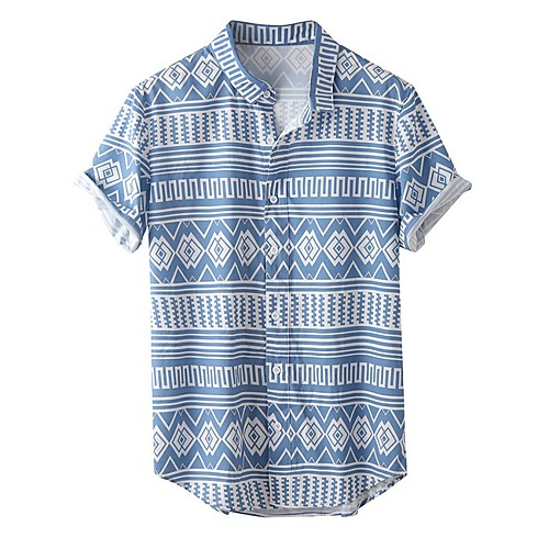 Men's Geometric Shirt - Cotton Tropical Hawaiian Holiday Beach Button Down Collar Light Blue / Short Sleeve