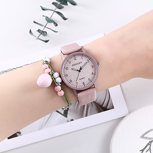 Women's Quartz Watches New Arrival Fashion Pink PU Leather Chinese Quartz Blushing Pink Chronograph Creative New Design 2 Piece Analog One Year Battery Life
