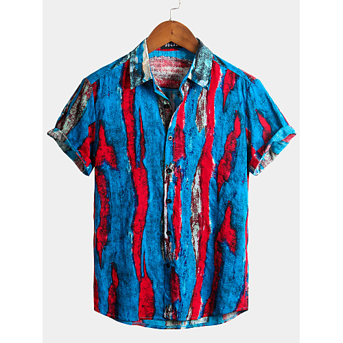Men's Striped Graffiti Shirt - Cotton Tropical Hawaiian Holiday Beach Classic Collar Button Down Collar Royal Blue / Short Sleeve