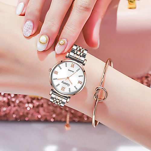 Women's Quartz Watches Fashion Silver Rose Gold Alloy Chinese Quartz Rose Gold WhiteGolden White Adorable 1 pc Analog One Year Battery Life