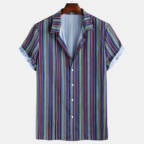 Men's Striped Shirt - Cotton Tropical Hawaiian Holiday Beach Button Down Collar Brown / Navy Blue / Light Blue / Short Sleeve