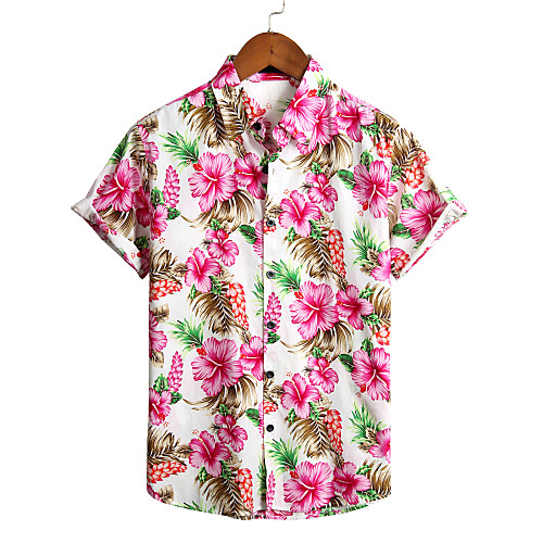 Men's Floral Shirt - Cotton Tropical Hawaiian Holiday Beach Classic Collar Button Down Collar White / Short Sleeve