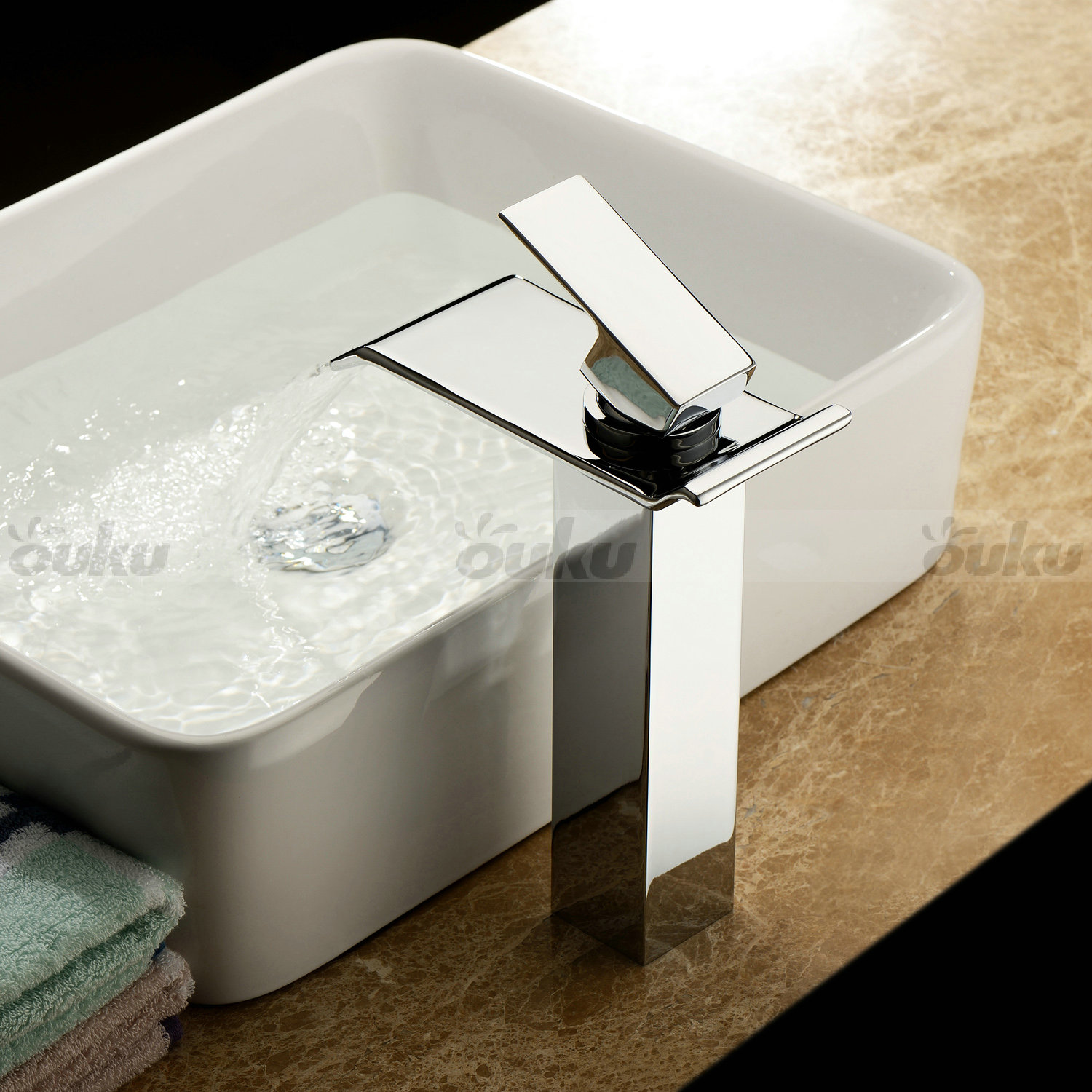 waterfall bathroom sink contemporary chrome finish single handle waterfall 15019