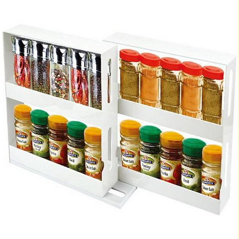 2 Tier Spice Rack Cabinet Holder Shelf Kitchen Organizer ...
