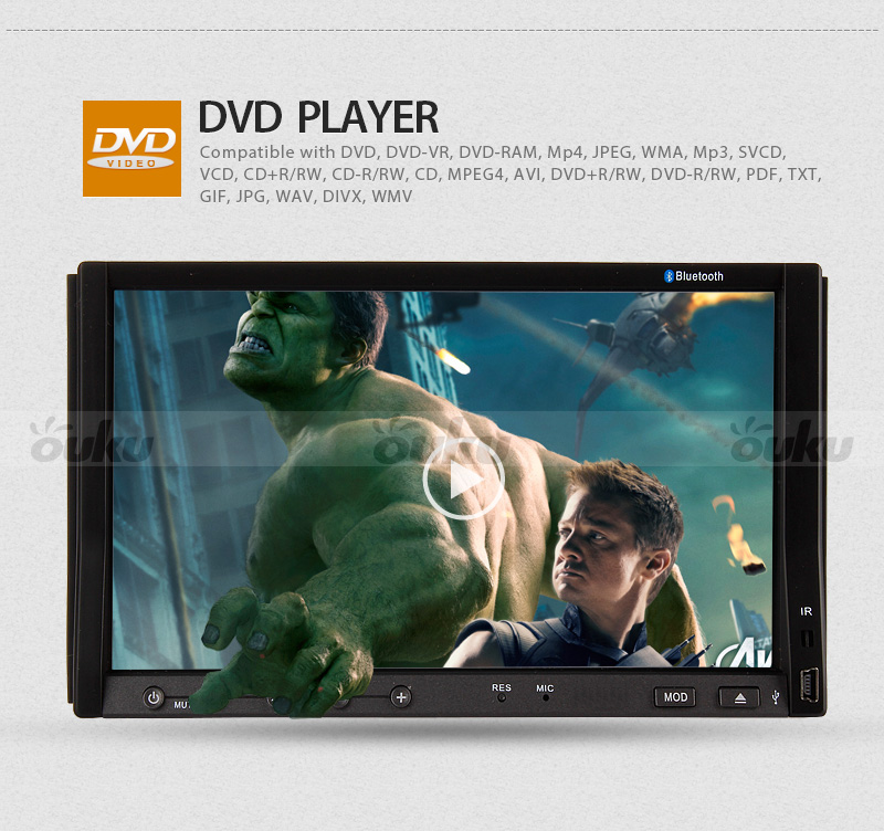 "Versio 2 DIN 7"" in Dash Car Stereo DVD CD Player Touch Screen iPod Bluetooth Cam"