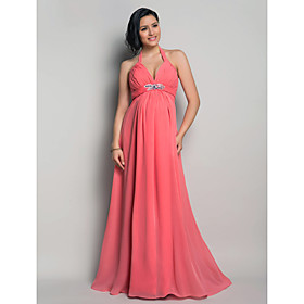 Sheath / Column Halter Neck Floor Length Chiffon Open Back Formal Evening Dress with Beading / Draping / Criss Cross by TS Couture 618529