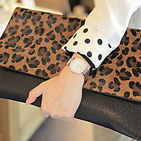 Fanny.C coreano Leopard Faux Leather Clutch Bag