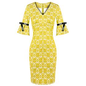 Cd Mit V-ausschnitt-kleid Mit Rüschenärmeln (gelb)-h0988 ...