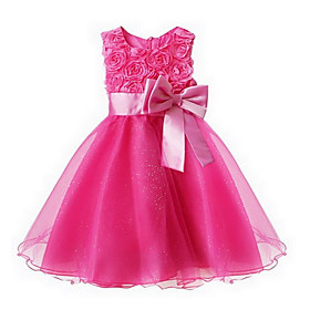 Toddler Girls' Sweet Party Floral Bow Sleeveless Dress / Layered 3641921