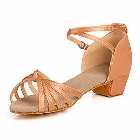 Women's Latin Shoes / Ballroom Shoes Satin Sandal Low Heel Non Customizable Dance Shoes Nude / Bronze / Kid's / Leather / Leather 873075