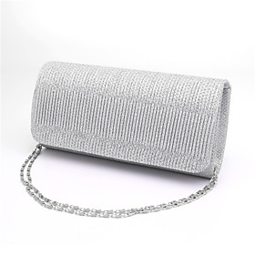 Women's Bags Polyester Evening Bag / Tri-fold Ruffles Stripe Black / Silver / Red / Wedding Bags / Wedding Bags 5053556