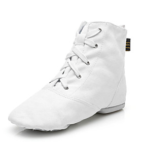 Women's Jazz Shoes Canvas Boots Lace-up Customized Heel Customizable Dance Shoes White / Black / Red / Performance 5050629