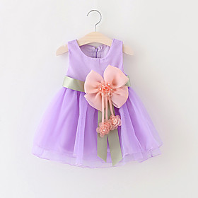 Baby Girls' Bow / Dresswear Party Solid Colored Sleeveless Cotton Dress / Toddler 5080279