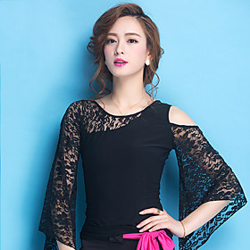 Ballroom Dance Tops Women's Training Lace / Viscose Lace Long Sleeve Natural Top 5499436