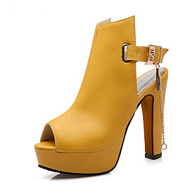 Women's Shoes PU(Polyurethane) Spring / Summer Sandals Chunky Heel Peep Toe Buckle / Chain White / Black / Yellow / Party  Evening / Party  Evening 5515366