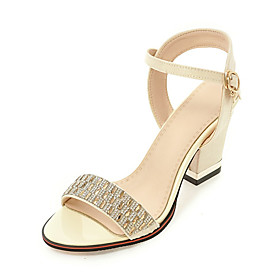 Women's Shoes Synthetics Summer / Fall Slingback Sandals Chunky Heel Round Toe Rhinestone Beige / Purple / Red / Party  Evening / Party  Evening / Block Heel S 5686228