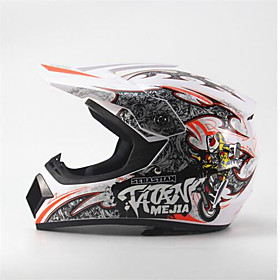 MEJIA Off-Road Motorcycle Racing Helmet Full Face Damping Durable Motorsport Helmet White/Orange Color 5790006