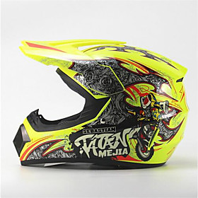 MEJIA Off-Road Motorcycle Racing Helmet Gloss Yellow Full Face Damping Durable Motorsport Helmet 5789986
