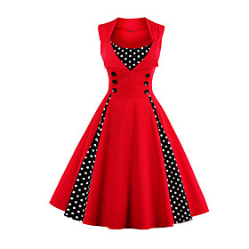 Women's Plus Size Going out Vintage A Line Dress - Polka Dot Red, Print 5781300