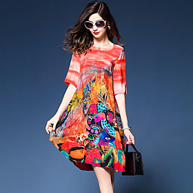 Women's Going out Street chic Silk Loose / Shift Dress - Graphic Print V Neck 5901173