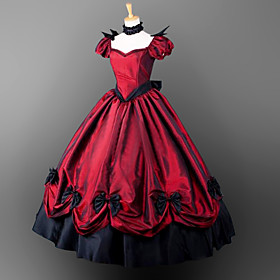Gothic Victorian Costume Women's Girls' Dress Party Costume Masquerade Red Vintage Cosplay Satin Short Sleeves Puff Balloon Floor Length Halloween Costumes / G 5941093