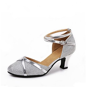 Women's Modern Shoes Glitter Heel Splicing Customized Heel Customizable Dance Shoes Silver / Silver / Black / Black / Gold / Indoor 6129435