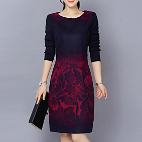 Women's Plus Size Casual Cotton Sheath Dress - Abstract Print / Slim 6143295